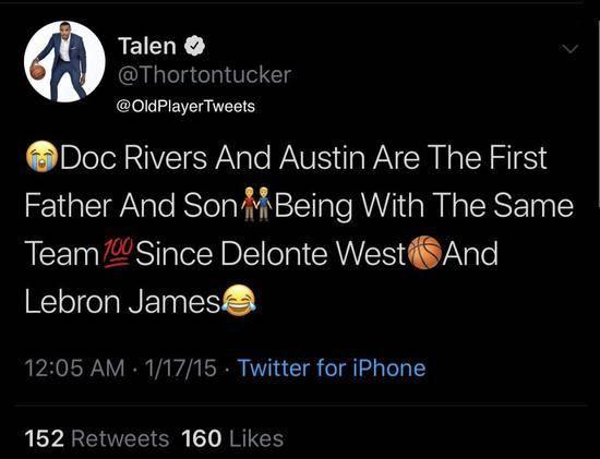 湖人二轮秀是詹黑?曾称詹姆斯和德隆蒂是父子