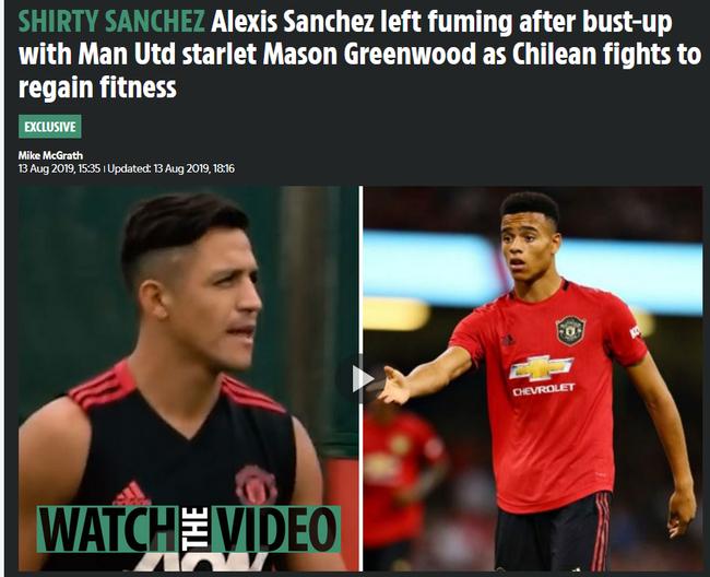 英媒曝桑切斯和队友冲突 互不相让当场吵起来