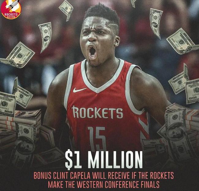 卡佩拉想获得100万奖金,火箭必须淘汰勇士 NBA新闻