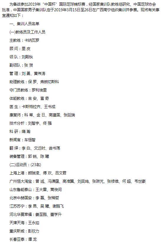 国足中国杯23人名单终出炉:卡帅指挥 恒大8人入选