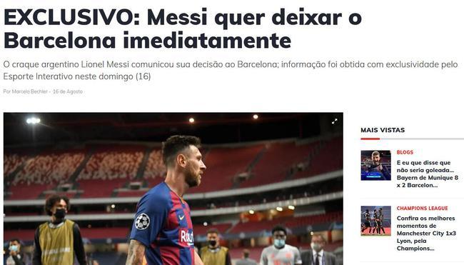 巴西媒体:梅西已告知巴萨 他今夏就想离队