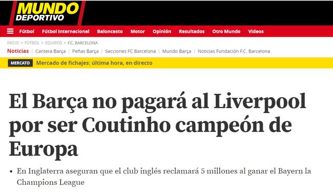 巴萨多给利物浦500万?加媒:库鸟在巴萨夺欧冠才算