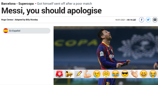 马卡报赛后批评梅西:他应该道歉