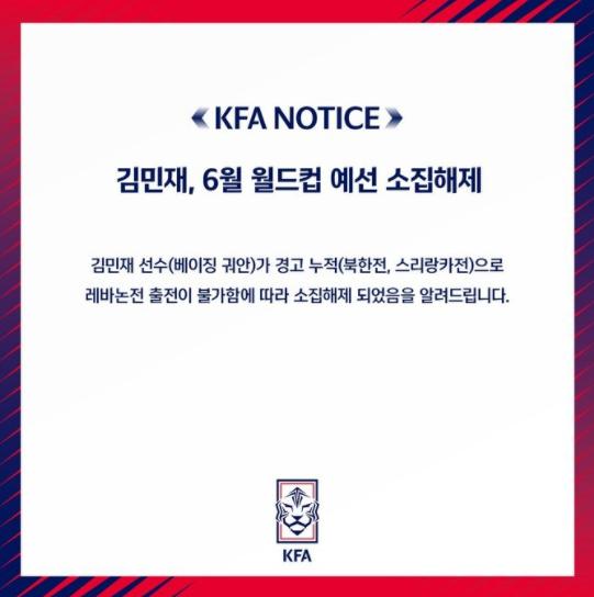 韩国足协:金玟哉累计黄牌无缘最后一轮小组赛
