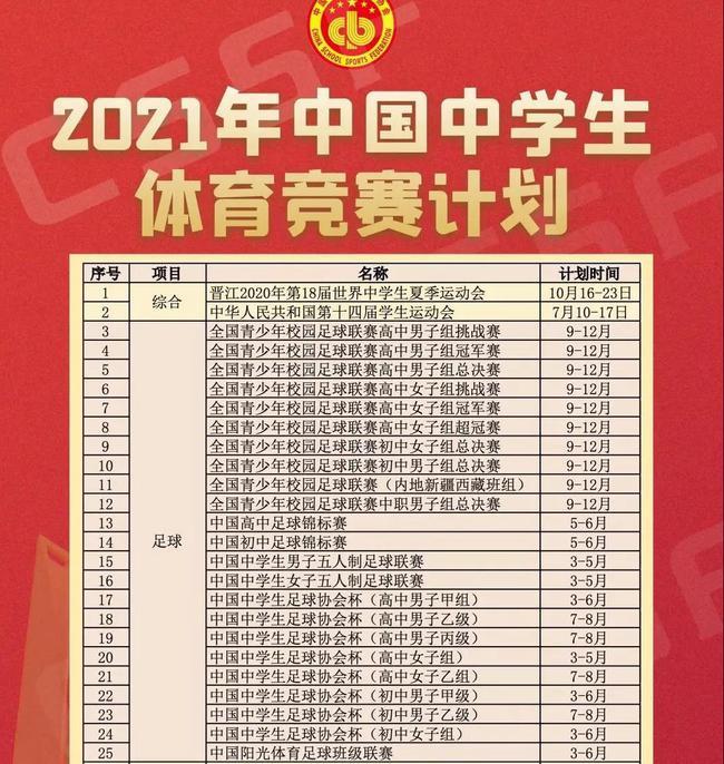 2021赛季中学足球赛事计划
